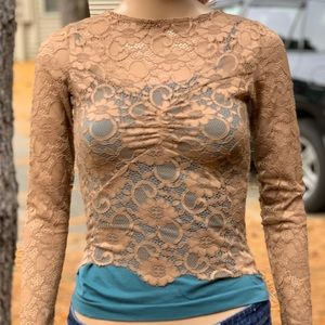 Nude Caramel Stretch Lace Sheer Long Sleeve Top